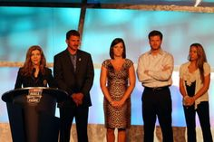 Teresa Earnhardt, speaking as Kerry, Kelley, Dale Jr. and Taylor Earnhardt stand on stage while Dale Sr. was inducted into the NASCAR Hall of Fame in 2010. Teresa has not made a public appearence since the event.