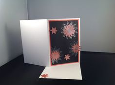 Note card using Stampin'Up! calypso Coral and basic black cardstock, silver embossing powder and Grateful Bunch Stampset