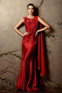 shyamal bhumika red gown for your cocktail Night Couture. | weddingz.in | India's Largest Wedding Company | Indian Cocktail Night Fashion Inspiration |