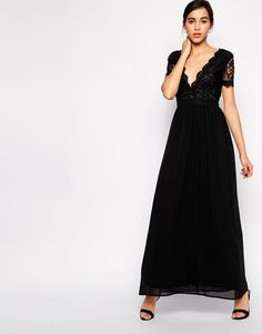 Club L Maxi Dress with Scallop Lace Plunge