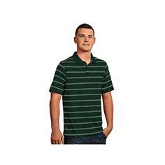Men's Antigua Striped Performance Golf Polo, Size: Medium, Dark Green