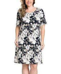 Navy Blue Casual Floral Patterned Plus Size Dress (2X or 3X)  ECPlusSize   a6e20e083