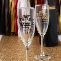 Cheers to the new grad with personalized champagne flute favors! Perfect for a college graduation party
