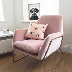 """4,073 Likes, 73 Comments - MADE.COM (@madedotcom) on Instagram: """"Pink to make the boys wink. How adorable does our pink Frame armchair look in @nicolelsage's living…"""""""