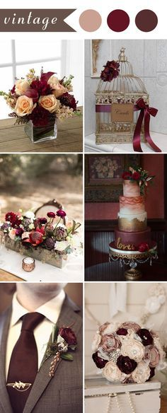 vintage wedding ideas in burgundy color for 2017
