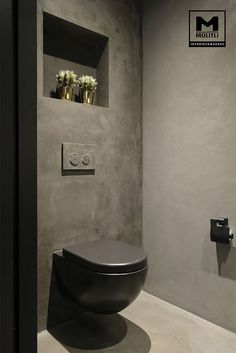 House in hengelo: bathroom by molitli interior designers - Here you will find all photos with living ideas. Small Toilet Room, Guest Toilet, Downstairs Toilet, Industrial Toilets, Industrial Bathroom, Modern Bathroom, Contemporary Bathrooms, Bathroom Design Luxury, Bathroom Design Small