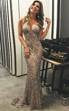 Mermaid Deep V-Neck Sweep Train Criss-Cross Straps Champagne Lace Prom Dress  M1898 64ffed0cf22a