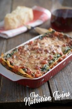 Eggplant Lasagna | Insanely delish, healthy and just 256 calories/ serving! | Super satisfying after a workout with 19 g protein! | For MORE RECIPES please SIGN UP for our FREE NEWSLETTER www.NutritionTwins.com