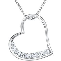 Jools by Jenny Brown Cubic Zirconia Brimming Asymmetric Heart Necklace ($64) ❤ liked on Polyvore featuring jewelry, necklaces, heart pendant necklace, pendant necklaces, heart shaped pendant necklace, heart chain necklace and cz heart pendant