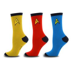 Star Trek Uniform Socks 3 Pack -@- http://geekarmory.com/star-trek-uniform-socks-3-pack/