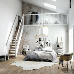 Interior. white wooden Scandinavian Staircase connected by white brick wall and white pendant lamp over grey bed . Awesome Scandinavian Staircase Design Shows Modern Look To Complete Your Home