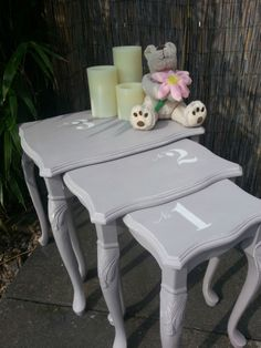 Shabby Chic French Country Style Nest of Tables End Side Lamp Occasional Tables. Painted with Annie Sloan chalk paint. Another beautiful piece from Chic Boutique Furniture in Leicester