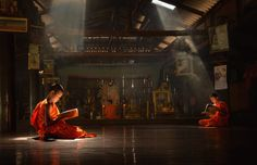 Buddhist monks are reading Novice learning,Thailand