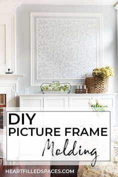 How to create an accent wall with picture frame molding. This simple DIY project is a beautiful addition above fireplace built-ins and completes my Living Room space. #pictureframemolding #wainscoting #molding #fireplace #livingroom #frenchfarmhouse