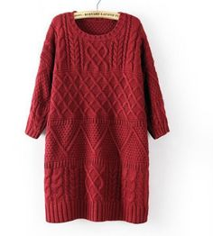 Women Vintage Twist Split Round Neck Half sleeve Sweater Dress Ladies Autumn Winter Cable Knitted Dress