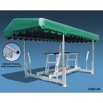 """4400-lb Hydraulic Free Standing Boat Lift   This very popular boat lift model is perfect for boats in the 20-24' range. Most of the smaller competition ski boats use this model boat lift. The boat lift quoted has a travel distance of 54"""", has an inside width of 114"""", an overall length of 151"""" & weighs 522-lbs. The price of this boat lift reflects a 12v system. To upgrade to a 24v add $100 & to upgrade to a 220v boat lift add $756. Don't forget if you're in deeper water there is a 76""""…"""