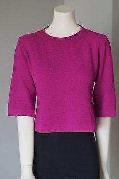 St-John-Collection-Women-039-s-Top-blouse-Knit-Sweater-Magenta-Size-P-Made-in-USA