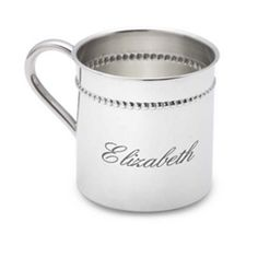 Engraved Classic Bead Baby Cup in Sterling Silver from eThoughtfulThings.com