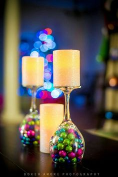 Inverted Wine Glass/Candle Holder as a Table Decoration