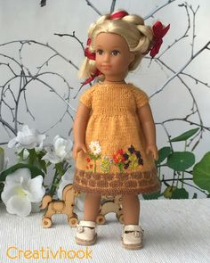 Amazing yellow dress for American girl mini and little story about me. Please visit my site.