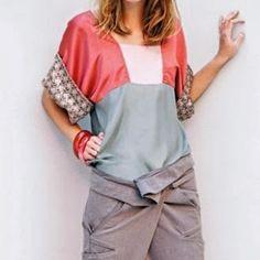 Patrón gratis y tutorial: blusa kimono bloques