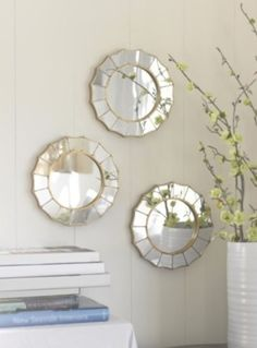 Set of 3 Round Gold Gilt Wall Mirrors #HollywoodRegency