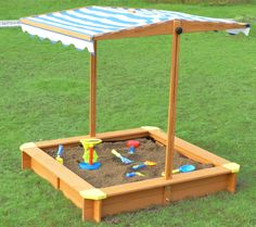 Kid's Outside Playground Sandbox with Retractable Canopy