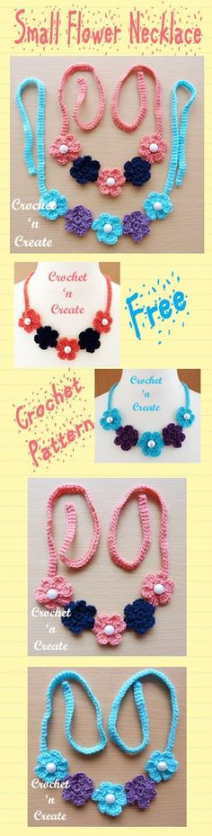 Free crochet pattern for pretty small flower necklace. #crochet
