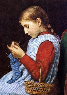 Julian Alden Weir (American, 1852-1919) Girl Knitting