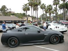 Matte Black Nissan GTR. That is such a futuristic looking car, it's unreal.