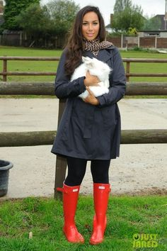 """Pin said: """"Leona Lewis in a pair of Hunter Original Tall boots in Red""""  All I thought was """"that's the biggest bunny I've ever seen!"""" And didn't even notice the boots"""