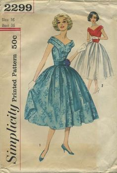 Vintage Sewing Pattern | Simplicity 2299 | Year 1957 | Bust 36 | Waist 28 | Hip 38