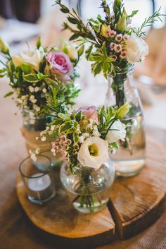 Flowers Jars Log Pink White Decor Centrepiece Gold Sequin Outdoor Humanist Wedding http://www.emmahillierphotography.com/