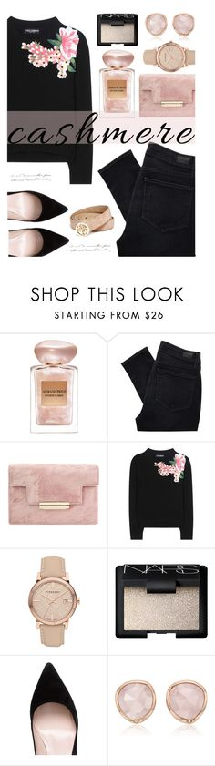 """Cozy Cashmere Sweater"" by cindycook10 ❤ liked on Polyvore featuring Giorgio Armani, Paige Denim, Dolce&Gabbana, Burberry, NARS Cosmetics, Kate Spade, Monica Vinader, GUESS, trend and polyvorecommunity"