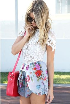 white street lace and floral shorts
