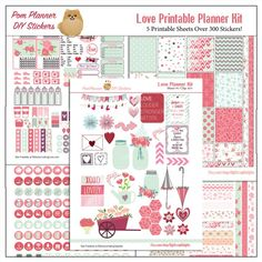 The Love Kit Freebie is packed with pink and green romance. Super for February or anytime of year. Great for a Bible journal layout. The freebie includes a margin strip you can use in your Bible or planner. #freebie #plannerlove #planneraddict #plannerstickers #love