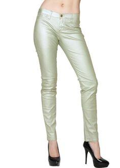 Amazon.com: Metallic Sage Wax Denim Jeans: Clothing