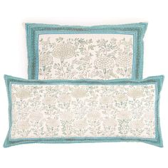 Get a bit of global glam with this block-printed pillow, based on a wall painting in the Samode Palace in India. Suitable for indoors or covered porches.