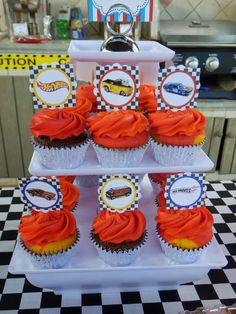 Hot Wheels birthday party cupcakes! See more party ideas at CatchMyParty.com!
