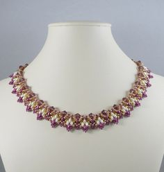 Woven Twin Bead Necklace Amethyst and Cream by IndulgedGirl, $48.00
