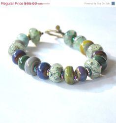 SPRING SALE Misty Green Purple Lampwork Bracelet by bstrung, $52.00
