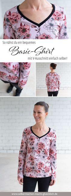 Ein Basic-Shirt mit V-Ausschnitt einfach selber nähen - Nähblog mit über 200 Nähideen von Selbermachen macht glücklich