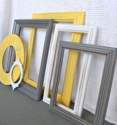 Yellow Grey White Frames Set of 6  Upcycled Frames by BeautiSHE, $48.00