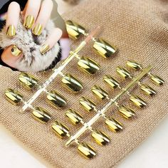24pcs Good Quanlyty Acrylic Nail Tips Punk Style Metallic Metal Shiny Golden Color Fake False Nails Short Size S05-in False Nails from Health & Beauty on Aliexpress.com | Alibaba Group