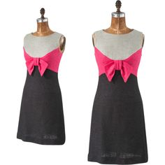 60s Mod Colorblock Dress, Vintage Gray Pink Linen Sleeveless Day Dress with Bow