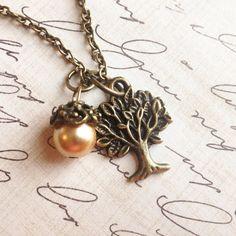 Acorn charm necklace woodland charm tree by RedLanternDesigns
