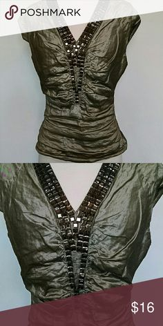 CARLISLE Top This taupe beauty is perfect for the holidays. There are some missing beads so I will reflect it in the price. CARLISLE  Tops Blouses
