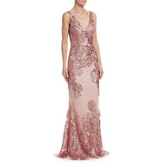 David Meister Sequin Embellished Gown ($695) ❤ liked on Polyvore featuring dresses, gowns, sequined dress, sequin ball gown, floral printed dress, floral evening dresses and sequin evening dresses