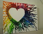 Melted crayon rainbow heart on canvas