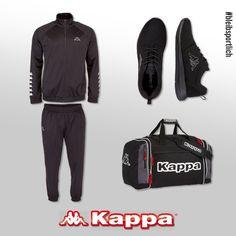 All black everything.  Das sportliche Kappa-Outfit: TILL, Trainingsanzug 2-teilig. SPEED II OC, Unisex Sneaker. GHANA, Sporttasche.